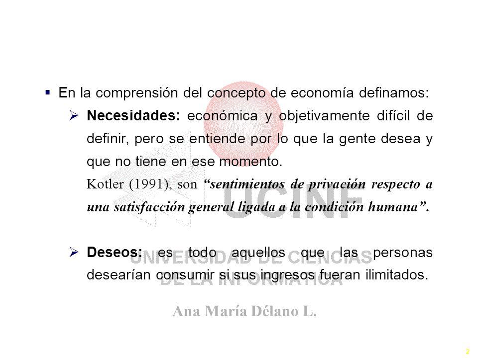 Ana María Délano L. 2 El Concepto de la Economía En la comprensión del concepto de economía definamos: Necesidades: económica y objetivamente difícil