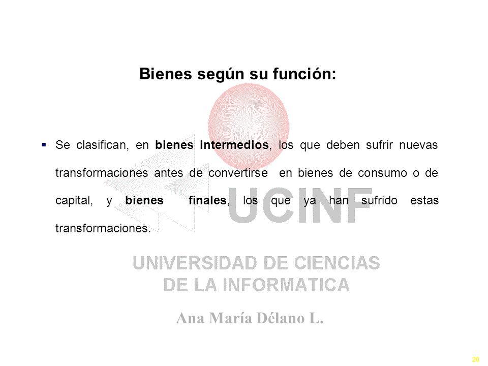Ana María Délano L. 20 Los Bienes y Servicios III Se clasifican, en bienes intermedios, los que deben sufrir nuevas transformaciones antes de converti
