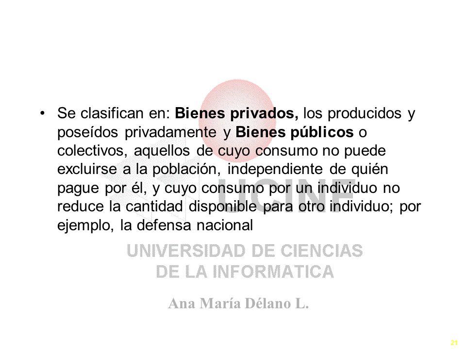 Ana María Délano L. 21 Se clasifican en: Bienes privados, los producidos y poseídos privadamente y Bienes públicos o colectivos, aquellos de cuyo cons
