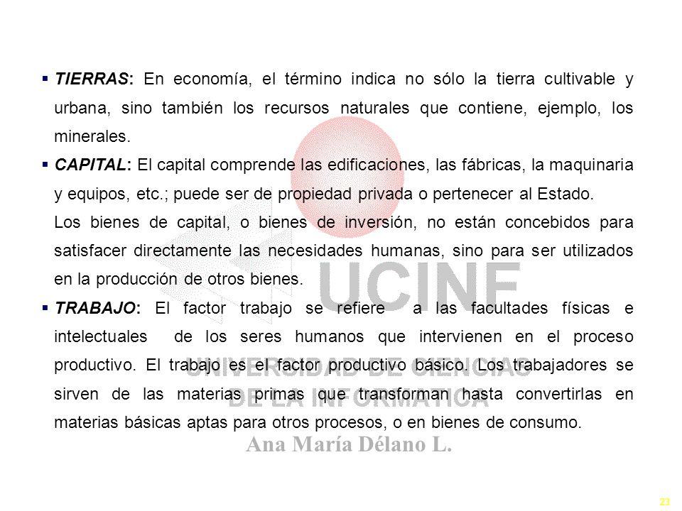 Ana María Délano L. 23 Los Recursos II TIERRAS: En economía, el término indica no sólo la tierra cultivable y urbana, sino también los recursos natura