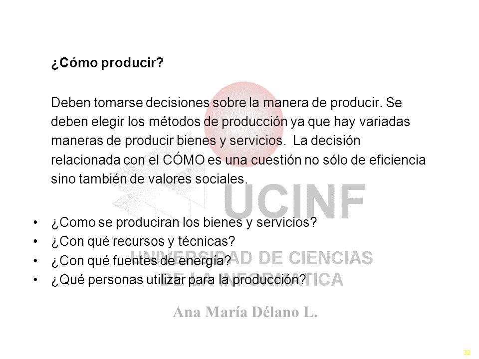 Ana María Délano L. 32 ¿Cómo producir? Deben tomarse decisiones sobre la manera de producir. Se deben elegir los métodos de producción ya que hay vari