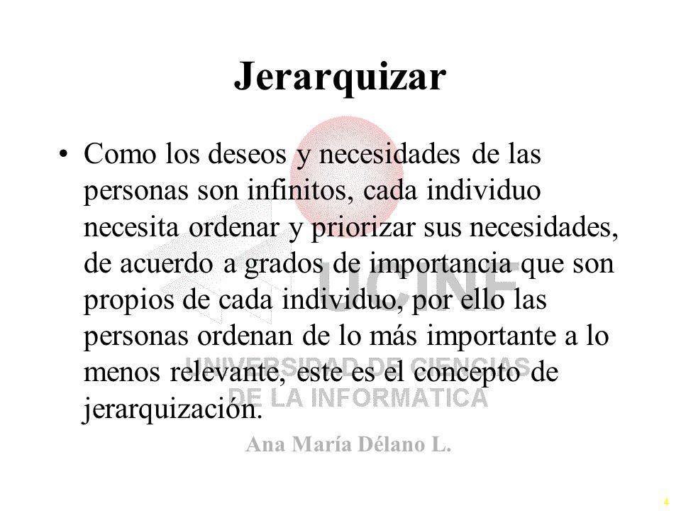Ana María Délano L. 4 Jerarquizar Como los deseos y necesidades de las personas son infinitos, cada individuo necesita ordenar y priorizar sus necesid