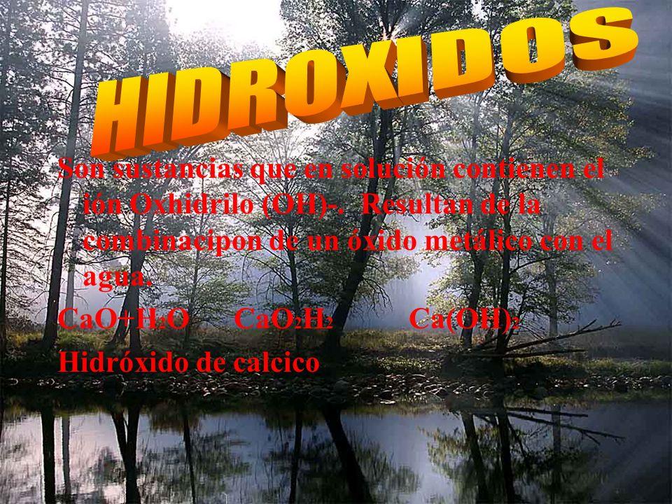 Son aquellos elementos que reaccionan con agua. C N F P S Cl As Se Br Sb Te I Su formula es (Hidrogeno, no metal, oxigeno) HNO 3 ácido nitrico