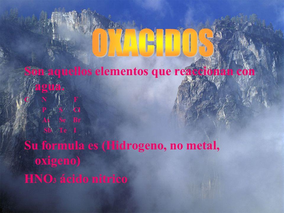 Es la combinación de un no metal con oxígeno. Estos forman anidridos: C N F P S Cl As Se Br Sb Te I +3 -2 N O N2O3 = Anidrido Nitroso