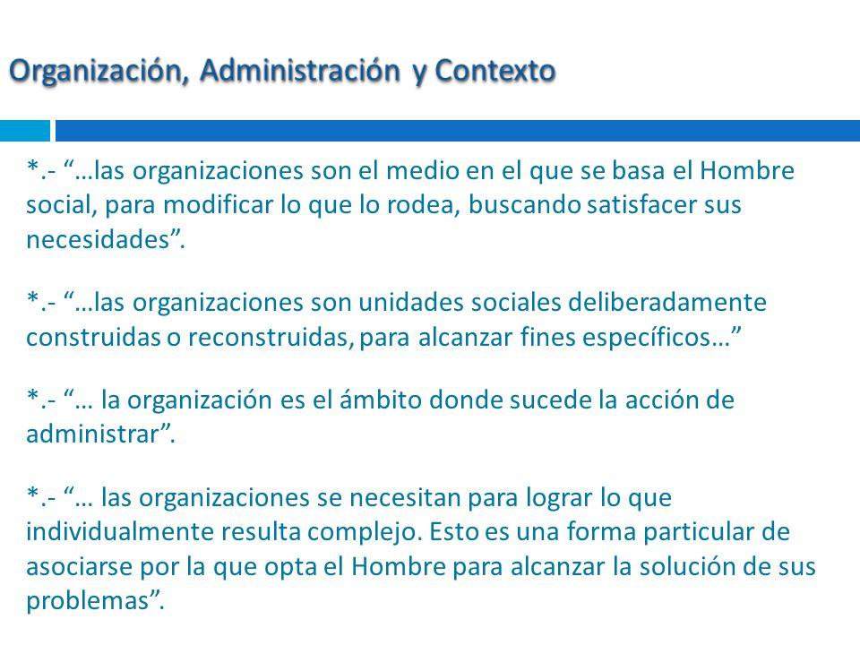 *.- …las organizaciones son el medio en el que se basa el Hombre social, para modificar lo que lo rodea, buscando satisfacer sus necesidades. *.- …las