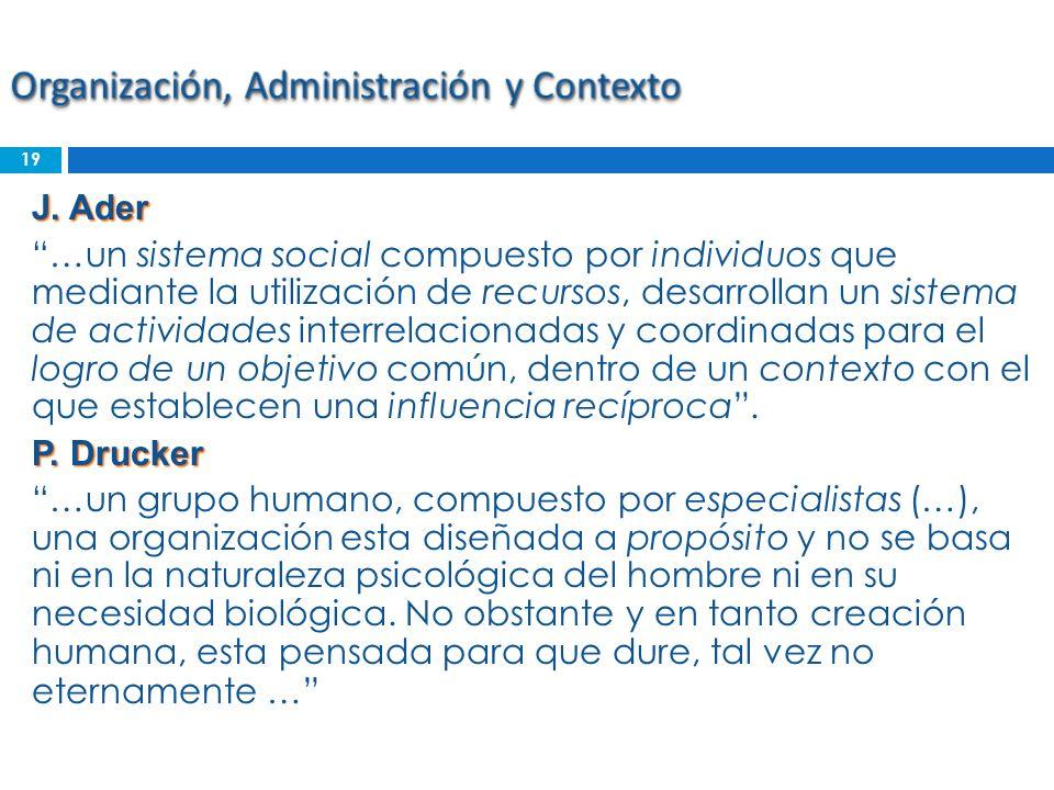 J. Ader …un sistema social compuesto por individuos que mediante la utilización de recursos, desarrollan un sistema de actividades interrelacionadas y