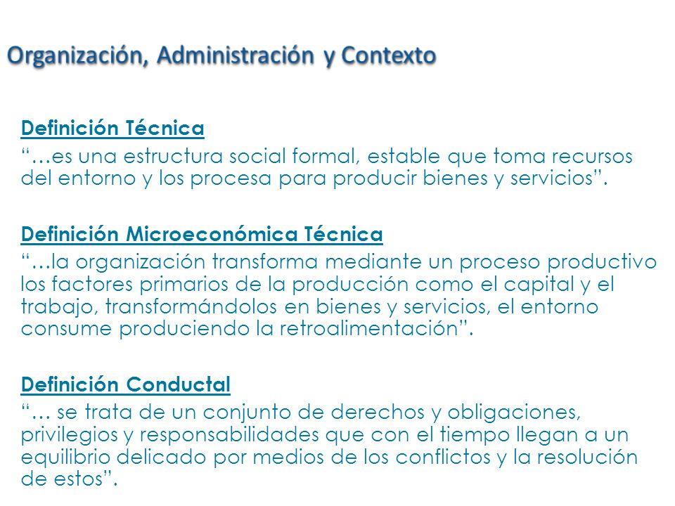 Definición Técnica …es una estructura social formal, estable que toma recursos del entorno y los procesa para producir bienes y servicios. Definición