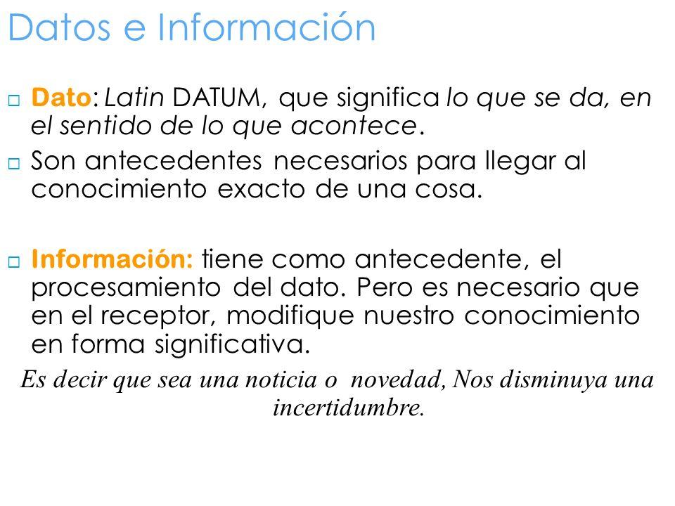 Datos e Información Dato : Latin DATUM, que significa lo que se da, en el sentido de lo que acontece. Son antecedentes necesarios para llegar al conoc