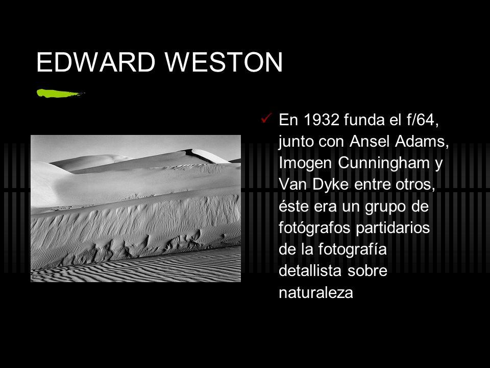 EDWARD WESTON En 1932 funda el f/64, junto con Ansel Adams, Imogen Cunningham y Van Dyke entre otros, éste era un grupo de fotógrafos partidarios de l