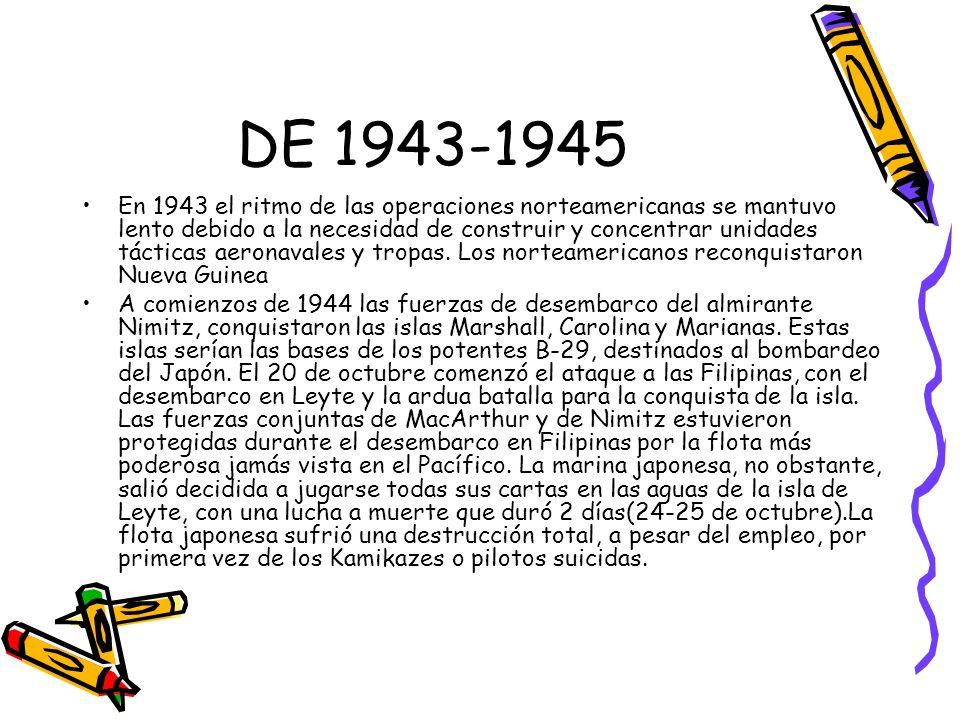 DE 1943-1945 En 1943 el ritmo de las operaciones norteamericanas se mantuvo lento debido a la necesidad de construir y concentrar unidades tácticas ae
