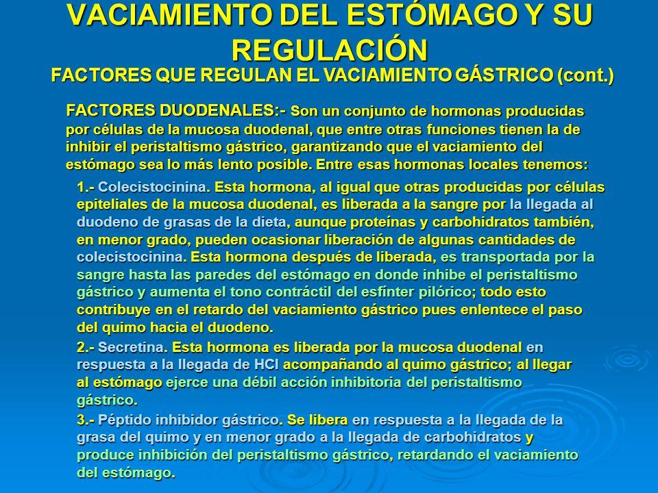 VACIAMIENTO DEL ESTÓMAGO Y SU REGULACIÓN FACTORES QUE REGULAN EL VACIAMIENTO GÁSTRICO (cont.) FACTORES DUODENALES:- Son un conjunto de hormonas produc