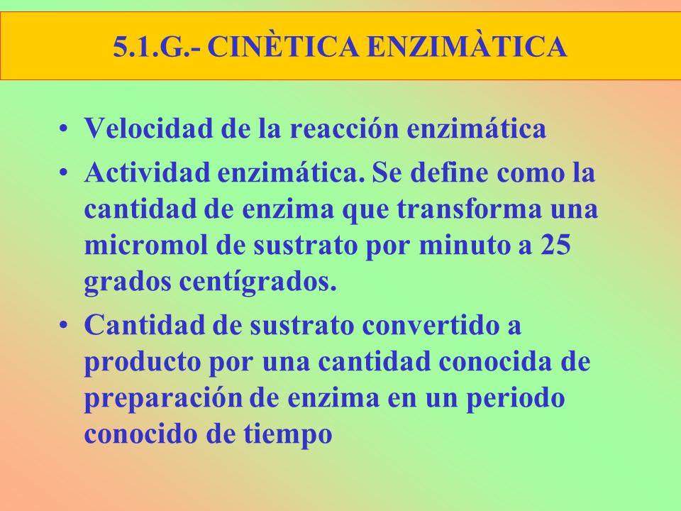 Velocidad de la reacción enzimática Actividad enzimática. Se define como la cantidad de enzima que transforma una micromol de sustrato por minuto a 25