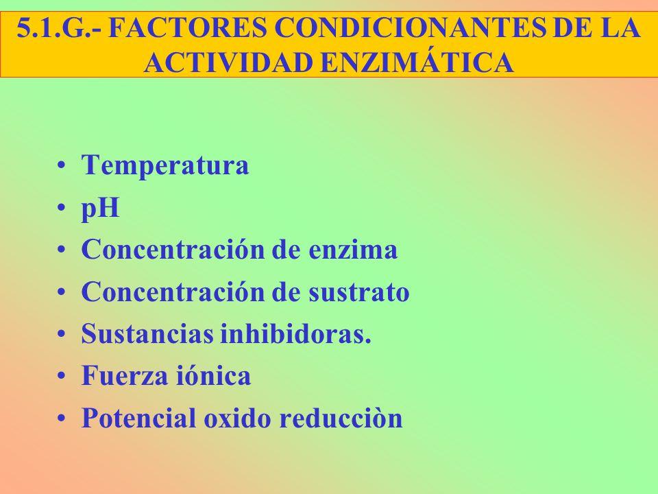Temperatura pH Concentración de enzima Concentración de sustrato Sustancias inhibidoras. Fuerza iónica Potencial oxido reducciòn 5.1.G.- FACTORES COND