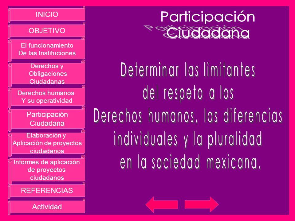 INICIO OBJETIVO El funcionamiento De las Instituciones Derechos y Obligaciones Ciudadanas Derechos humanos Y su operatividad Participación Ciudadana E
