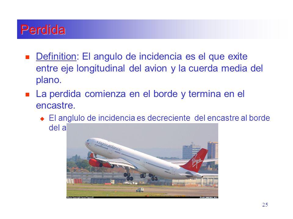 25 Perdida n Definition: El angulo de incidencia es el que exite entre eje longitudinal del avion y la cuerda media del plano. n La perdida comienza e