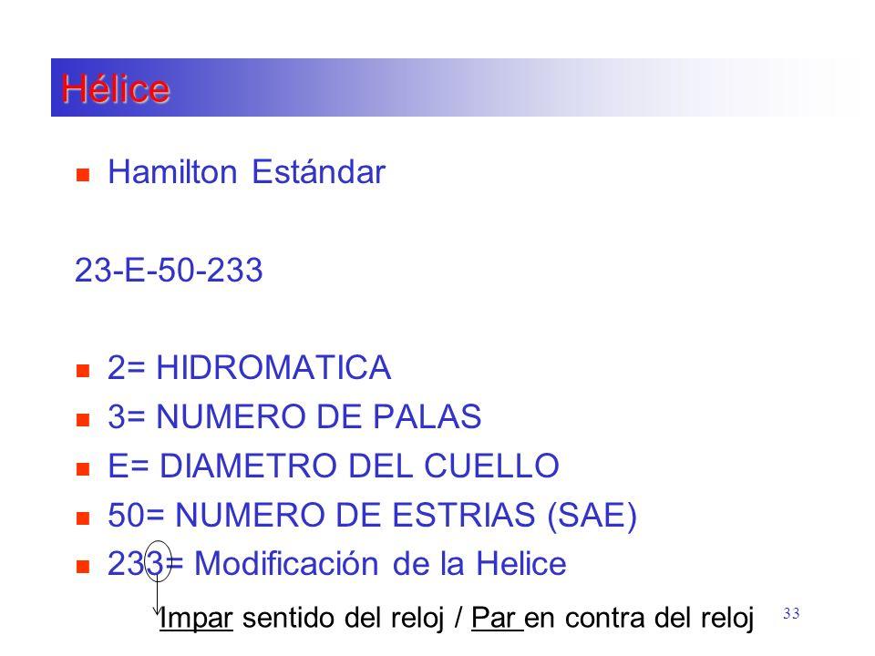 Hélice n Hamilton Estándar 23-E-50-233 n 2= HIDROMATICA n 3= NUMERO DE PALAS n E= DIAMETRO DEL CUELLO n 50= NUMERO DE ESTRIAS (SAE) n 233= Modificació