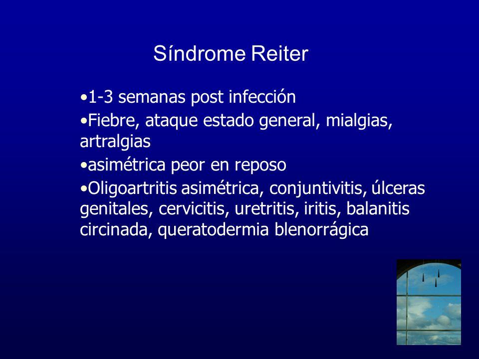 Síndrome Reiter 1-3 semanas post infección Fiebre, ataque estado general, mialgias, artralgias asimétrica peor en reposo Oligoartritis asimétrica, con