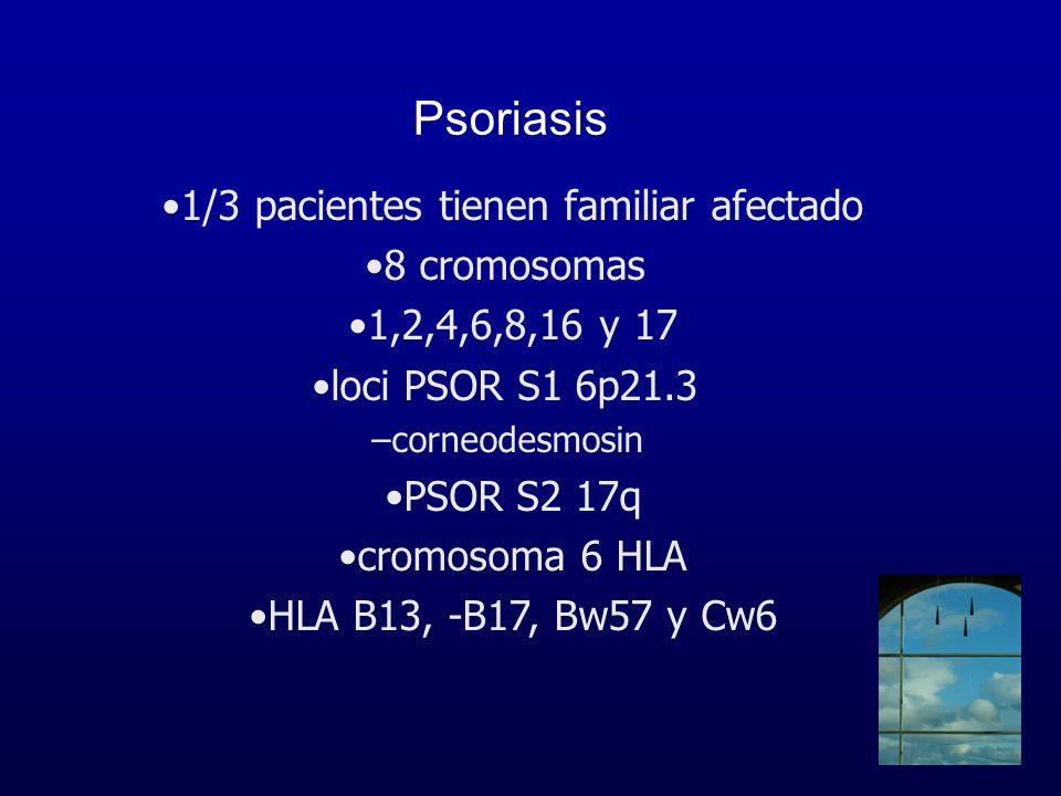 Psoriasis 1/3 pacientes tienen familiar afectado 8 cromosomas 1,2,4,6,8,16 y 17 loci PSOR S1 6p21.3 –corneodesmosin PSOR S2 17q cromosoma 6 HLA HLA B1