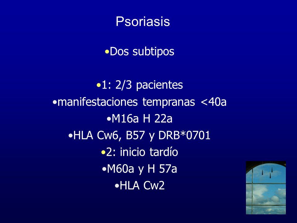 Psoriasis Factores ambientales Infecciones –15-76% –psoriasis en gotas –vías respiratorias altas –estreptococo grupo A ß hemolítico –gatillo inicio y recaídas VIH
