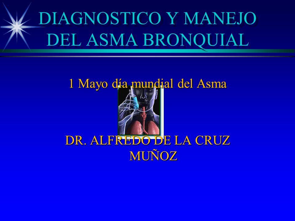 DIAGNOSTICO Y MANEJO DEL ASMA BRONQUIAL 1 Mayo día mundial del Asma DR. ALFREDO DE LA CRUZ MUÑOZ