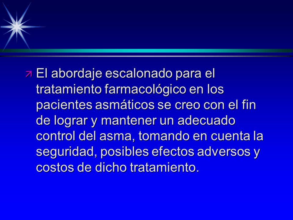 ä El abordaje escalonado para el tratamiento farmacológico en los pacientes asmáticos se creo con el fin de lograr y mantener un adecuado control del