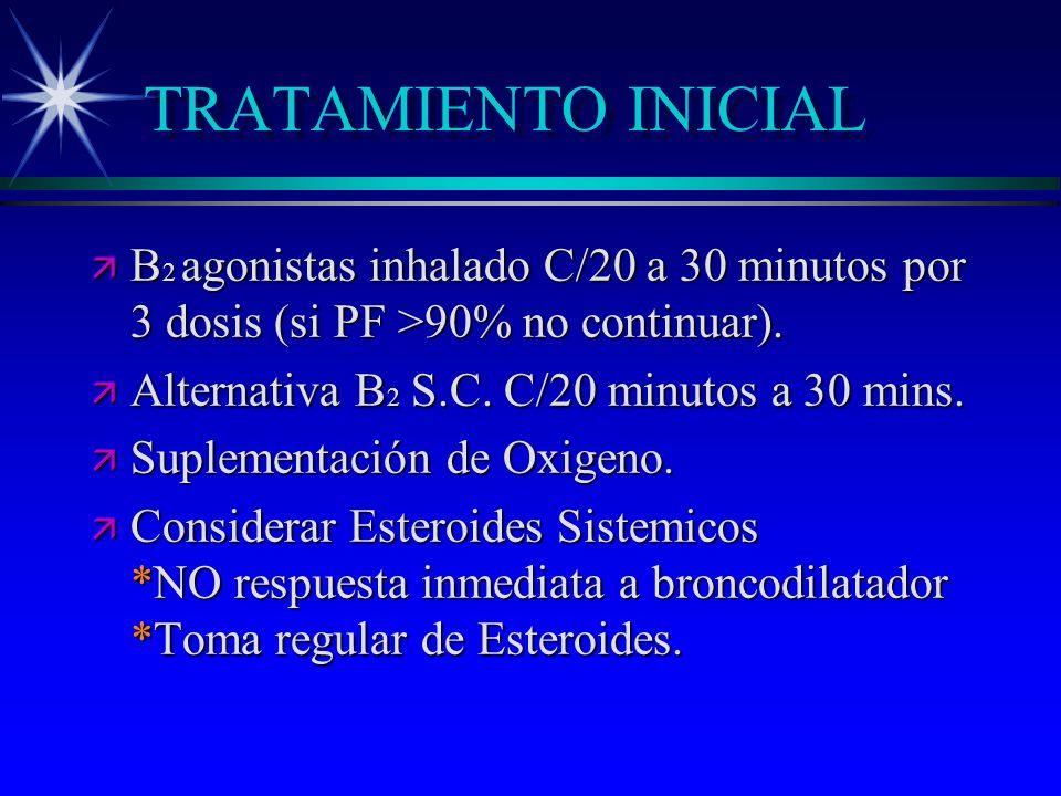 TRATAMIENTO INICIAL ä B 2 agonistas inhalado C/20 a 30 minutos por 3 dosis (si PF >90% no continuar). ä Alternativa B 2 S.C. C/20 minutos a 30 mins. ä