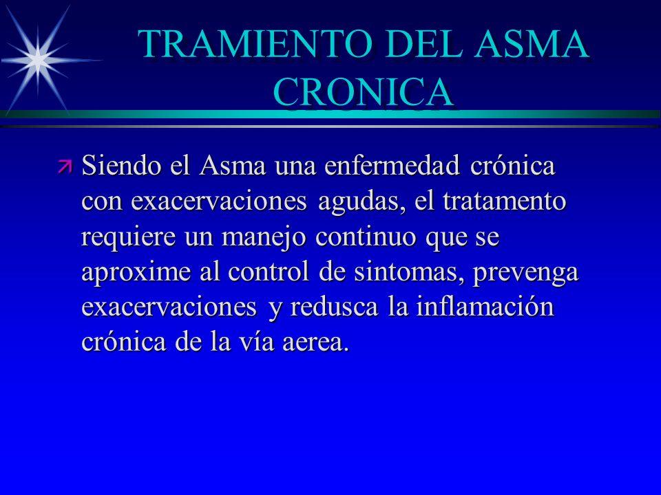 TRAMIENTO DEL ASMA CRONICA ä Siendo el Asma una enfermedad crónica con exacervaciones agudas, el tratamento requiere un manejo continuo que se aproxim