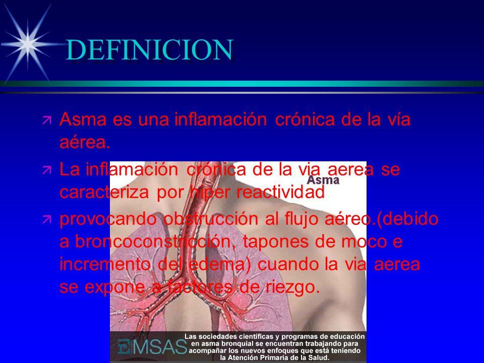 DEFINICION ä ä Asma es una inflamación crónica de la vía aérea. ä ä La inflamación crónica de la via aerea se caracteriza por hiper reactividad ä ä pr