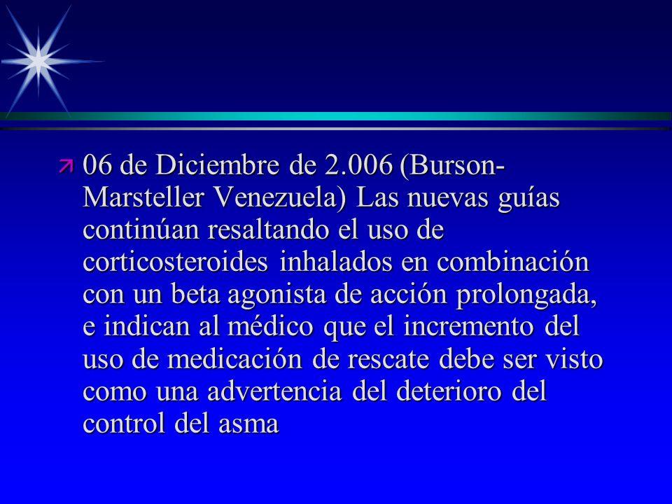ä 06 de Diciembre de 2.006 (Burson- Marsteller Venezuela) Las nuevas guías continúan resaltando el uso de corticosteroides inhalados en combinación co