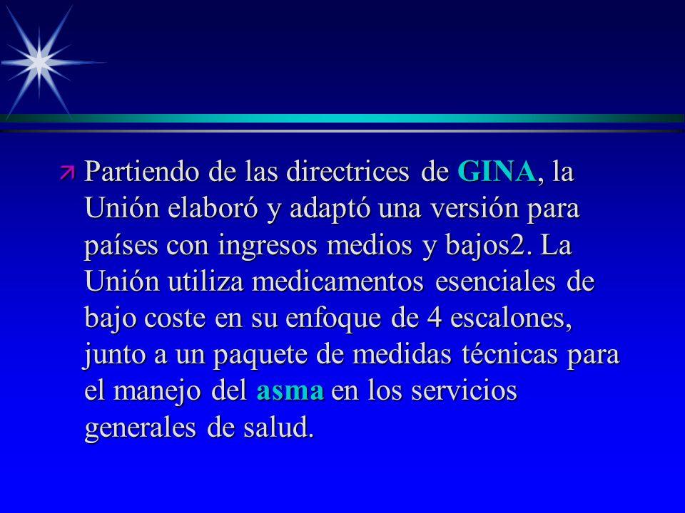 ä Partiendo de las directrices de GINA, la Unión elaboró y adaptó una versión para países con ingresos medios y bajos2. La Unión utiliza medicamentos
