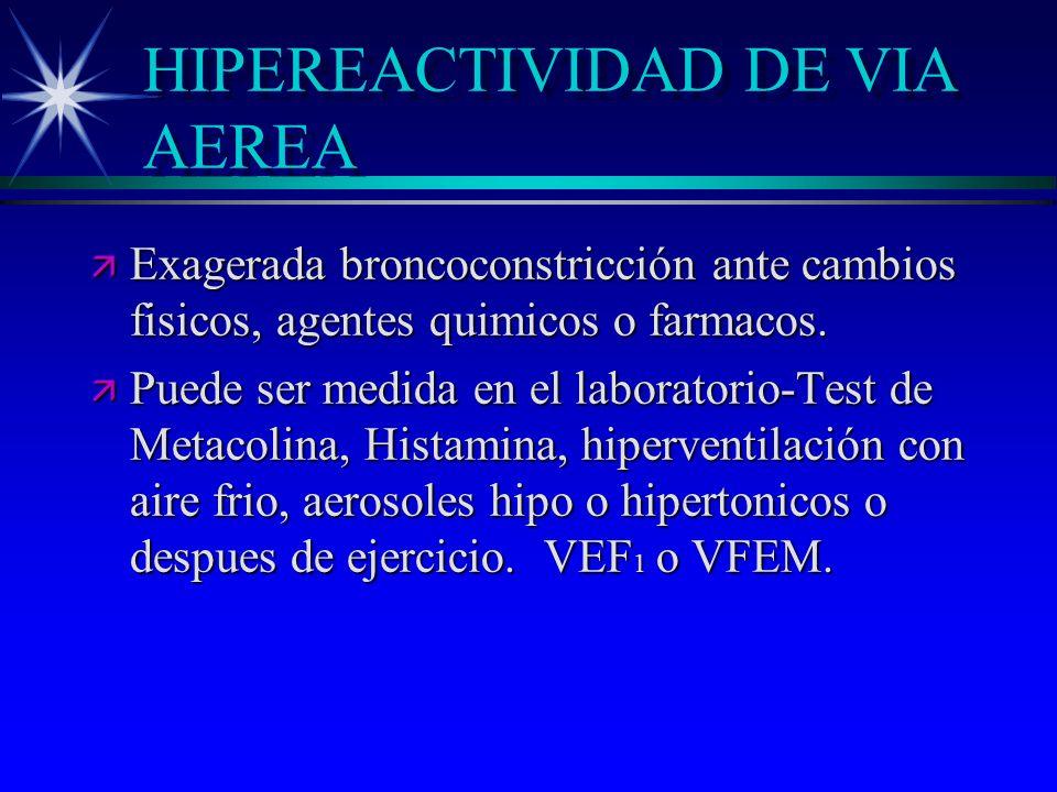 HIPEREACTIVIDAD DE VIA AEREA ä Exagerada broncoconstricción ante cambios fisicos, agentes quimicos o farmacos. ä Puede ser medida en el laboratorio-Te