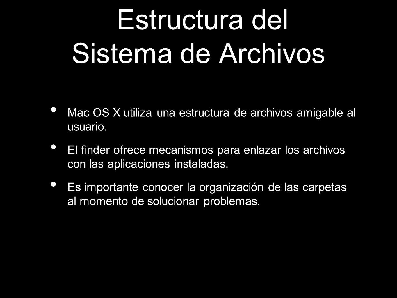 Estructura del Sistema de Archivos Mac OS X utiliza una estructura de archivos amigable al usuario. El finder ofrece mecanismos para enlazar los archi
