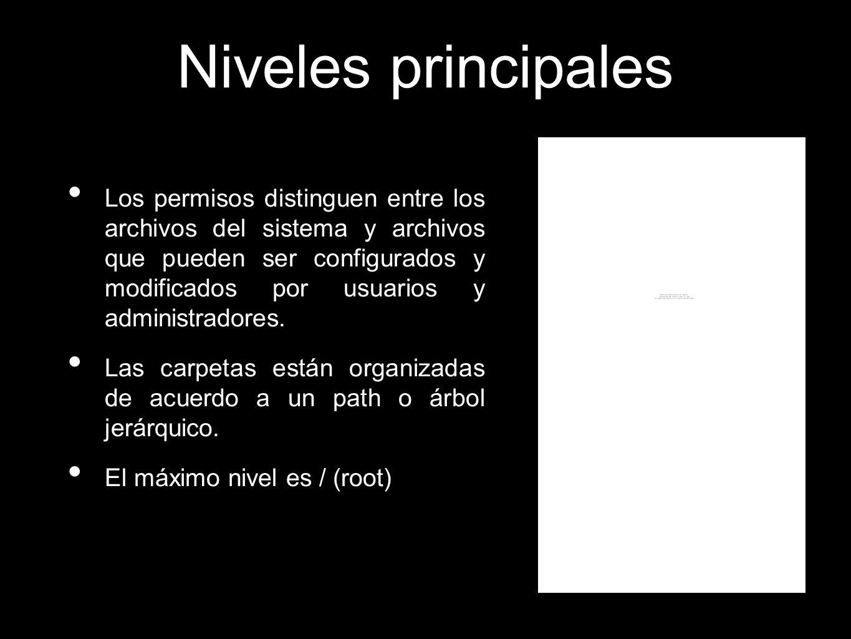 Niveles principales Los permisos distinguen entre los archivos del sistema y archivos que pueden ser configurados y modificados por usuarios y adminis