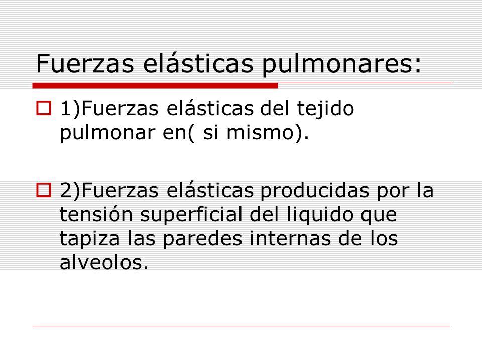 Fuerzas elásticas pulmonares: 1)Fuerzas elásticas del tejido pulmonar en( si mismo). 2)Fuerzas elásticas producidas por la tensión superficial del liq