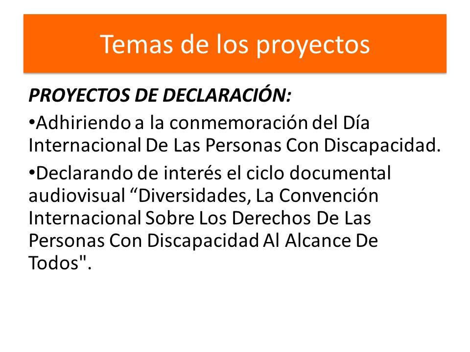 Temas de los proyectos PROYECTOS DE DECLARACIÓN: Adhiriendo a la conmemoración del Día Internacional De Las Personas Con Discapacidad.
