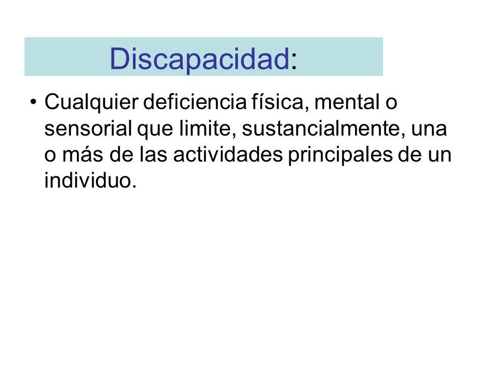 Discapacidad: Cualquier deficiencia física, mental o sensorial que limite, sustancialmente, una o más de las actividades principales de un individuo.