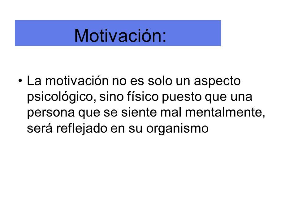 Motivación: La motivación no es solo un aspecto psicológico, sino físico puesto que una persona que se siente mal mentalmente, será reflejado en su or