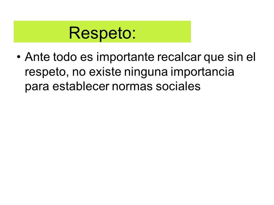 Respeto: Ante todo es importante recalcar que sin el respeto, no existe ninguna importancia para establecer normas sociales
