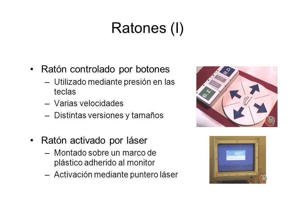 Ratones (I) Ratón controlado por botones –Utilizado mediante presión en las teclas –Varias velocidades –Distintas versiones y tamaños Ratón activado p