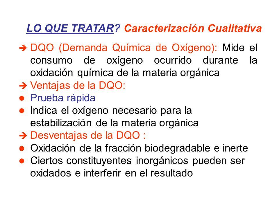 LO QUE TRATAR? Caracterización Cualitativa DQO (Demanda Química de Oxígeno): Mide el consumo de oxígeno ocurrido durante la oxidación química de la ma