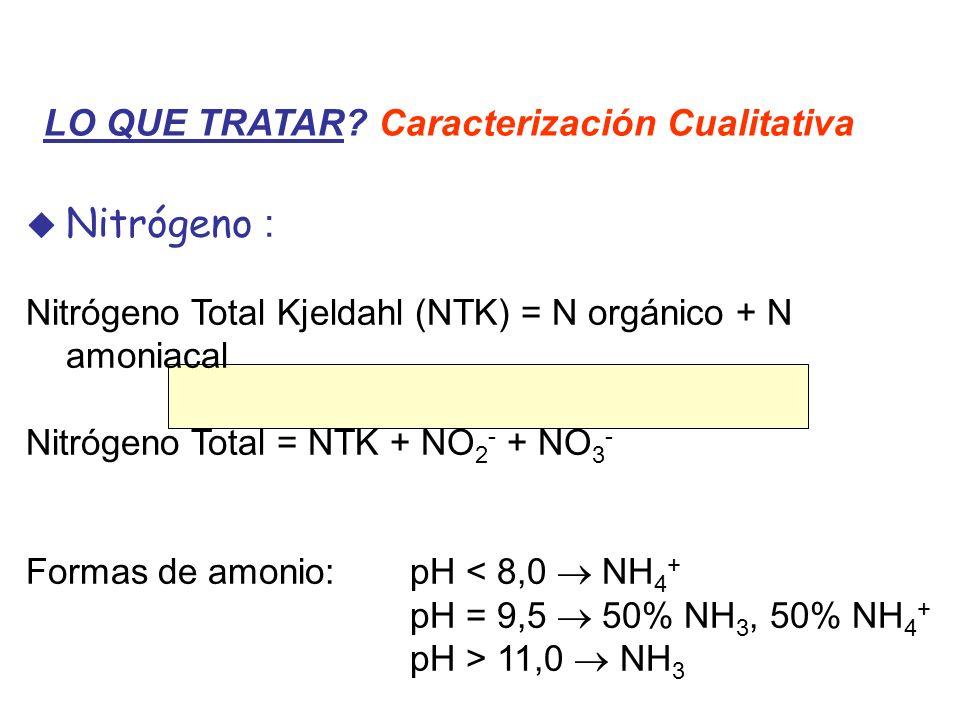 Nitrógeno : Nitrógeno Total Kjeldahl (NTK) = N orgánico + N amoniacal Nitrógeno Total = NTK + NO 2 - + NO 3 - Formas de amonio:pH < 8,0 NH 4 + pH = 9,