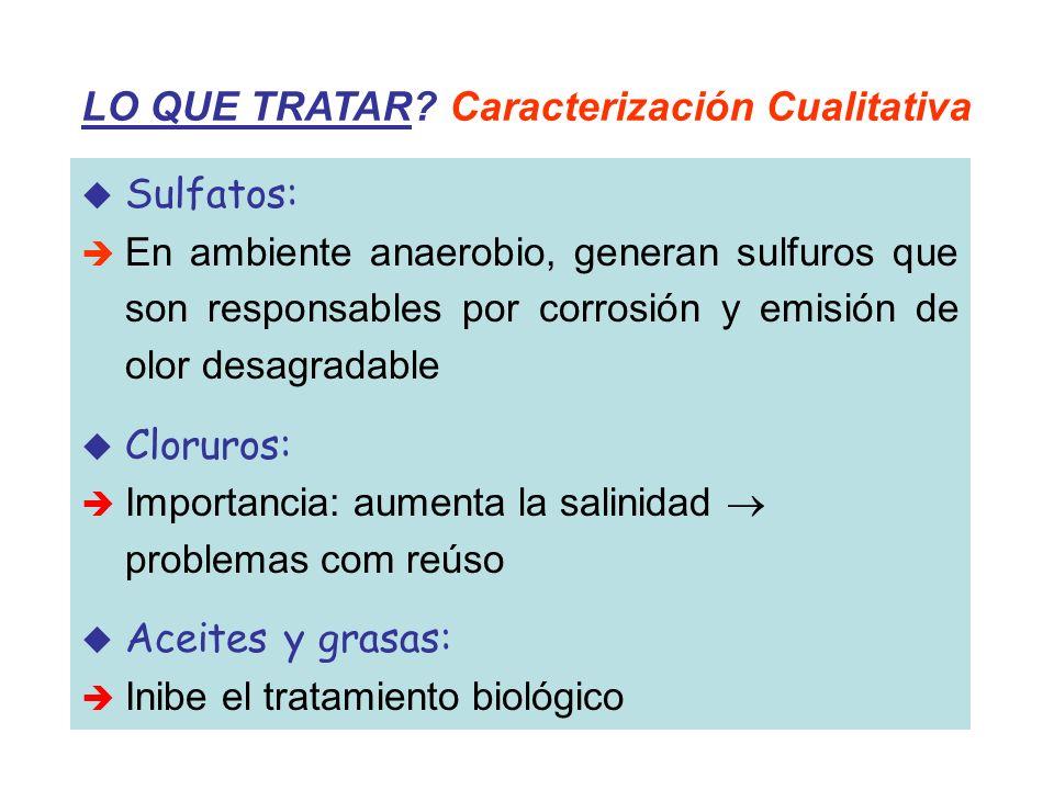 LO QUE TRATAR? Caracterización Cualitativa Sulfatos: En ambiente anaerobio, generan sulfuros que son responsables por corrosión y emisión de olor desa