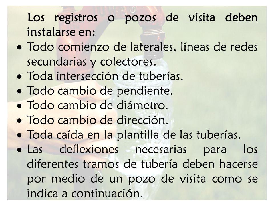 Los registros o pozos de visita deben instalarse en: Todo comienzo de laterales, líneas de redes secundarias y colectores. Toda intersección de tuberí