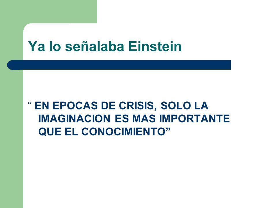 Ya lo señalaba Einstein EN EPOCAS DE CRISIS, SOLO LA IMAGINACION ES MAS IMPORTANTE QUE EL CONOCIMIENTO