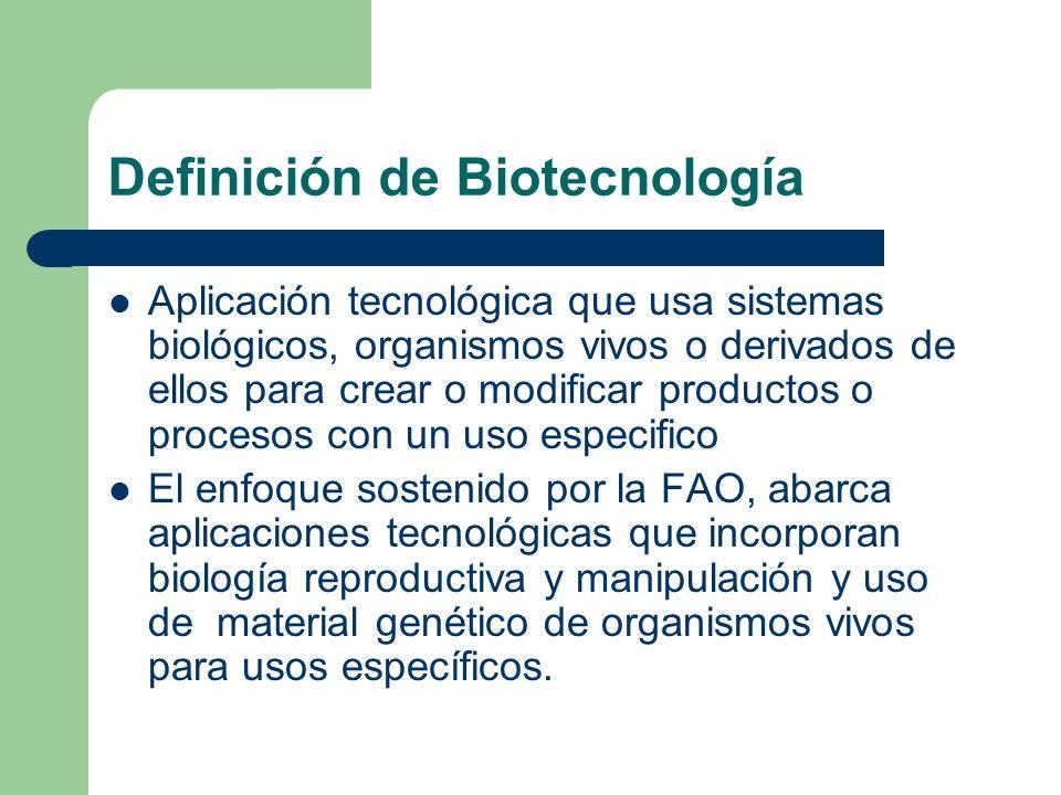 Definición de Biotecnología Aplicación tecnológica que usa sistemas biológicos, organismos vivos o derivados de ellos para crear o modificar productos