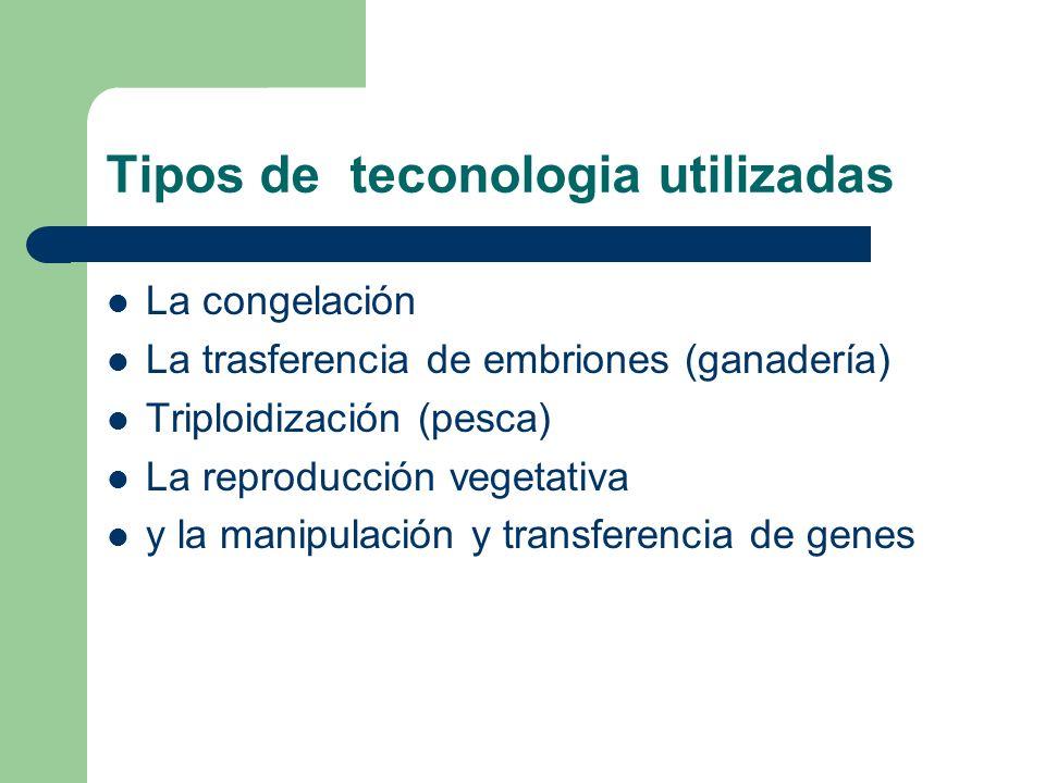 Tipos de teconologia utilizadas La congelación La trasferencia de embriones (ganadería) Triploidización (pesca) La reproducción vegetativa y la manipu