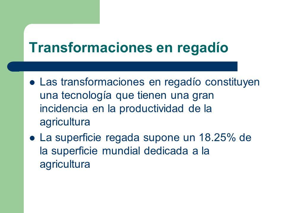 Transformaciones en regadío Las transformaciones en regadío constituyen una tecnología que tienen una gran incidencia en la productividad de la agricu