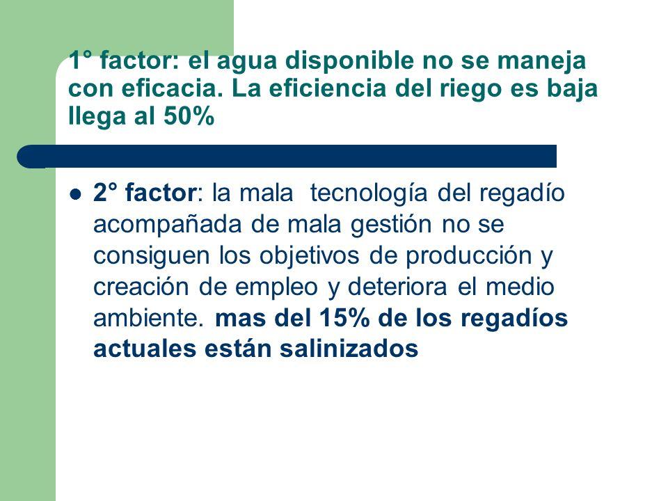 2° factor: la mala tecnología del regadío acompañada de mala gestión no se consiguen los objetivos de producción y creación de empleo y deteriora el m