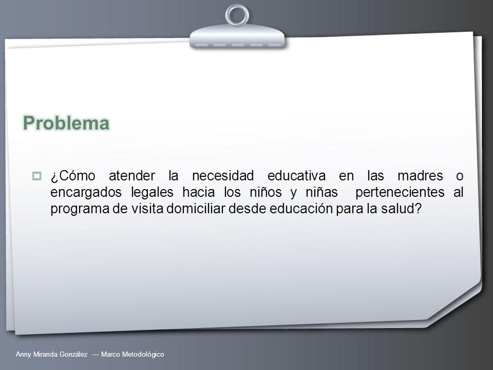 Anny Miranda González --- Marco Metodológico ¿Cómo atender la necesidad educativa en las madres o encargados legales hacia los niños y niñas perteneci