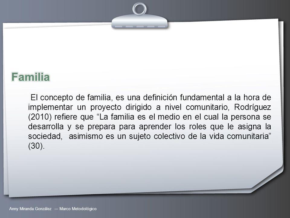 Anny Miranda González --- Marco Metodológico El concepto de familia, es una definición fundamental a la hora de implementar un proyecto dirigido a niv